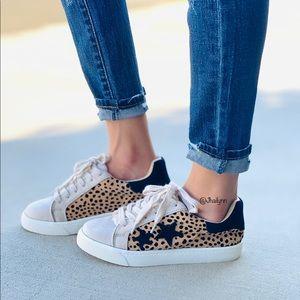 Leopard faux suede sneaker